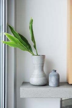 Accessorize with monochromatic vases and punch of green. It greats a sense of completion.