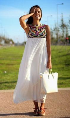 White Pleated Print Round Neck Sleeveless Chiffon Dress - Maxi Dresses - Dresses