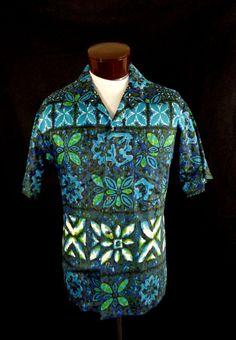 bf3c3dfef6 Vintage Blue Likeke Polished Cotton Abstract Floral Print Hawaiian Shirt-XL-VLV   LikekeFashions