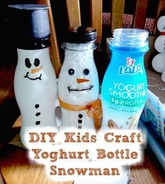 Upcycle yogurt containers for a fun kids craft! This snowman craft is great for kids and makes cute Christmas decor. #upcycle #upcycledcrafts #upcycledkidscrafts #diy #diykidscrafts #yogurtbottlecrafts #snowmancrafts #snowmankidscraft #craftbits