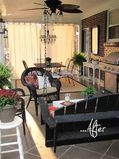 Spruced-up back patio, before and after.  Wow!