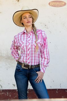 Pink Check Laides Western Shirt with Floral Embroidery Ladies Western Shirts, Ladies Shirts, Pink Check Shirt, Lei, Western Wear, Floral Embroidery, Cowboys, Cowboy Hats, Jeans