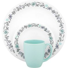 #Corelle Livingware Day Dream 16-Piece Dinnerware Set - these are so freaking cute!
