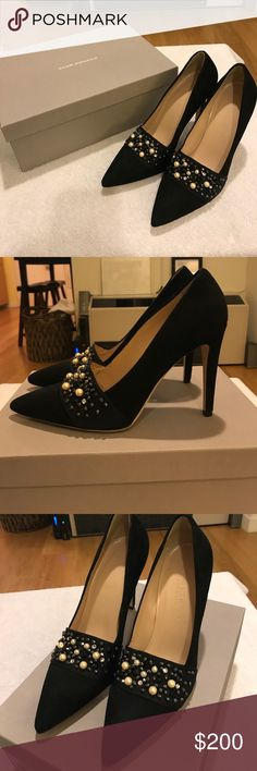 NWT Embellished Club Monaco Pumps Beautiful and festive Club Monaco Suede Pumps with embellished pearl and stone detail / Never worn / Brand new with labeled box Club Monaco Shoes Heels