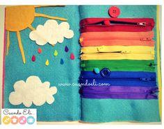 """El arcoíris de cremallera: Idea de página para el quiet book o libro de actividades en fieltro """"No requiere costura"""". - Rainbow page idea for no sew quiet book"""