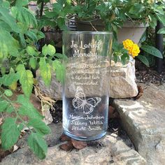 This Light Shines Memorial Vase - In Loving Memory Vase -Floating Butterfly Memorial Candle - Memorial Candle - Engraved Memorial Cylinder Wedding Flutes, Wedding Vases, Wedding Ceremony Decorations, Floating Candles, White Candles, Butterfly Lighting, Mason Jar Candle Holders, Wedding Memorial, Glass Blocks