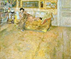 Interior with Madame Hessel and Her Dog by Jean Edouard Vuillard (France)