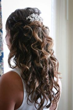 Wedding hair wedding accessories  Half up half down updo Curls wedding jewelry