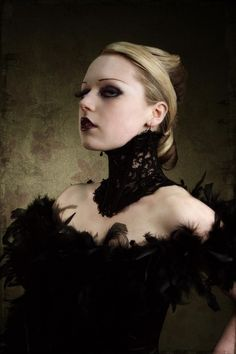 Elegant Victorian Steampunk inspired black lace neck corset size small. $45.00, via Etsy.