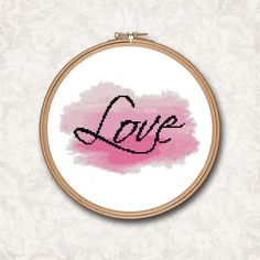 Pink Watercolor Splash with Love Text Counted Cross Stitch Pattern - PDF Digital Download by SimpleWaveDesigns on Etsy https://www.etsy.com/listing/289876813/pink-watercolor-splash-with-love-text