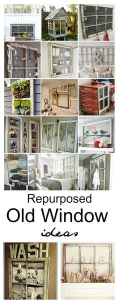 Repurposed Old Window Ideas is part of home Projects Ideas - Add some creative charm in your home with an old window! Here are some Repurposed Window Ideas that you can get inspiration from, for your own original project! Antique Windows, Vintage Windows, Old Wood Windows, Decorative Windows, Diy Windows, Windows Decor, Black Windows, House Windows, Old Window Projects