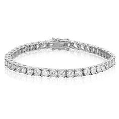 Brilliant Round Cut 4mm White CZ in Rose or 14K Gold and Rhodium Plated Silver Eternity Tennis Bracelet * For more information, visit image link.