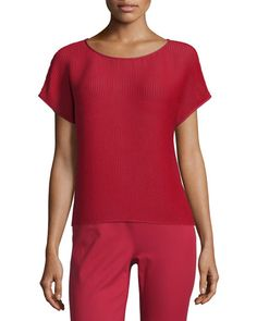 TB5DU Lafayette 148 New York Nadette Playful Pleat Blouse, Ruby Red