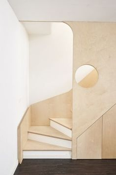 Get interior design inspiration and interior decorating ideas from Brian Paquette Interiors, a Seattle interior design firm. Plywood Interior, Interior Stairs, Interior Architecture, Interior And Exterior, Interior Design Inspiration, Decor Interior Design, Furniture Design, Interior Decorating, Spiral Staircase