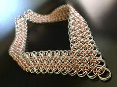 Jump Ring Jewelry, Cuff Jewelry, Metal Jewelry, Jewlery, Wire Crafts, Jewelry Crafts, Chainmail Patterns, Choker, Chain Mail