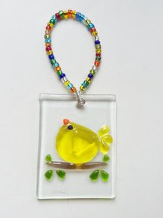Yellow Bird of Happiness Fused GLass by LanieMarieDesigns on Etsy