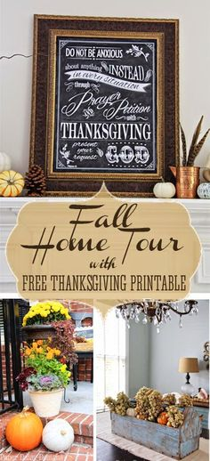 Fall Home Tour and Free Thanksgiving Printable! Tour features vignettes that you can copy in your own home!