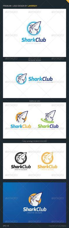 Shark Club Logo — AI Illustrator #tour #fast • Available here → https://graphicriver.net/item/shark-club-logo/3948697?ref=pxcr