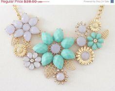 ON SALE Flower Necklace, Purple necklace, mint necklace, turquoise, spring necklace, statement necklace, bib necklace, jewelry, gold chain n