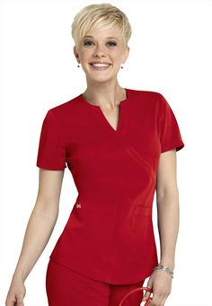 NrG by Barco 2-pocket mock-wrap scrub top. - Scrubs and Beyond