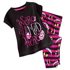 Genuine Disney Store Alice In Wonderland Cheshire Cat Sleep Set Girl Size:3 #Disney #TwoPiece