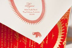 elephant! Oh So Beautiful Paper: Moulin Rouge Inspired Red + Gold Foil Wedding Invitations