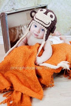 Crochet Monkey Hat by Sweet Kiwi Croc | Crocheting Pattern