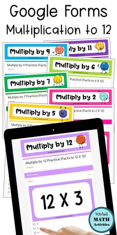 Digital Self-Grading Multiplication to 12 Practice & Quizzes Learning Multiplication, Math Fact Fluency, Teaching Math, Multiplication Strategies, Maths, Teaching Ideas, Math Classroom, Google Classroom, Classroom Resources