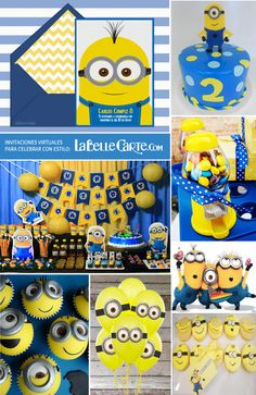 First Birthday Party Themes, Birthday Invitations Kids, 1st Boy Birthday, Birthday Decorations, Minion Birthday, Minion Party, Banana Party, Minion Cookies, Fiesta Party