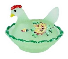 Hen on Nest Chick Salt Dip Cellar of Green Glass Limelight Satin with Hand Painted Roses.