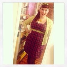 Purple Plaid Dress with Chartreuse Cardigan ootd pin up style plus size outfit for work