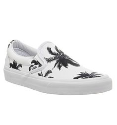 Vans Classic Slip On Shoes Palm Print White - Unisex Sports