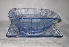 Walther & Sohne blue Cardiff pattern watercress dish and plate Pressed Glass, Cardiff, Vintage Glassware, Shades Of Blue, Punch Bowls, Depression, Dish, Plates, Pattern