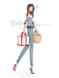 USA | 4th of July | picnic | jeans | summer style | nautical shirt | fashion illustration | Brittany Fuson