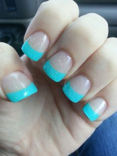 Bright Blue French Tip