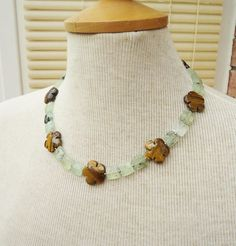 Prehnite and Tigers eye Necklace, Flower Shaped Tigers Eye Necklace, Green and Brown Necklace, Gemstone Necklace Gemstone Necklace, Beaded Necklace, Tigers Eye Necklace, Flower Shape, Green And Brown, Beautiful Necklaces, Jewelry Design, Shapes, Gemstones