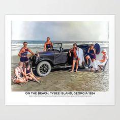 On the Beach, Tybee Island, Georgia 1924 Art Print Colorized History, Tybee Island Georgia, Library Of Congress, Meet The Artist, Photo Library, Art Prints, Beach, Art Impressions, The Beach