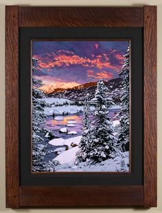 Blazing Winter Chill - The first in a Seasonal Landscape series, using Colorado as the backdrop. - Arts & Crafts - Craftsman - Bungalow - Keith Rust Illustration Framed Giclée Prints