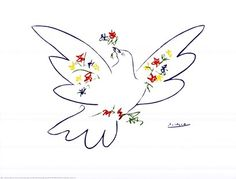 Dove with Flowers by Pablo Picasso art print