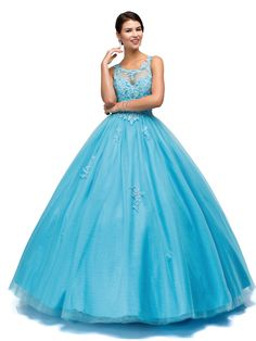 YSMei Women's Long Open Back Beads Quinceanera Dresses Rhinestone Prom Ball Gown Blue 2 Sweet 16 Dresses, Lovely Dresses, Beautiful Gowns, Formal Dresses, Bridal Dresses, Bridesmaid Dresses, Prom Dresses, Couture, Mori Lee Dresses