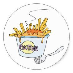 Poutine Junk Snack Food Cartoon Art Sticker #Stickers