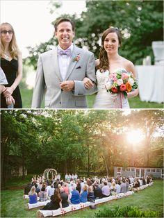 hay bale seating- outdoor wedding ceremony