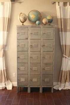 love the lockers, striped curtains, and globes!!