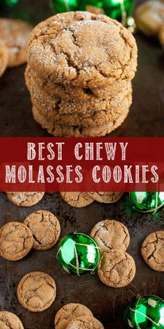 The Best Chewy Molasses Cookies! These are the Best Chewy Molasses Cookies ever, and a must make Christmas cookie tradition! The perfectly crackled tops and chewy insides are irresistible! Chocolate Chip Cookies, Chocolate Christmas Cookies, Cute Christmas Cookies, Valentine Cookies, Easter Cookies, Birthday Cookies, Holiday Cookies, Christmas Baking, Cookies Healthy