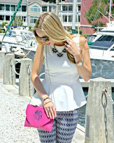 Pink Champagne: Pink & Ink (and monogrammed too). Wearing navy and white with a pop of pink, featuring: Lilly Pulitzer, Pink Bubbly, and J.Crew. #fashionblogger #nautical #peplum #springstyle