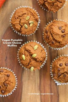 One Bowl Vegan Pumpkin Cream Cheese Muffins | http://veganricha.com #pumpkin #fall #spices #vegan #breakfast #muffin These muffins have pumpkin puree, pumpkin pie spices, all whole grain flour and are filled with vegan cream cheese in the center!