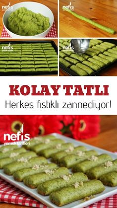 Jade Dessert (Easy Dessert with Spinach) (with video) - Yummy Recipes - # 3113004 Easy Desserts, Delicious Desserts, Yummy Food, Yummy Recipes, Dessert Recipes, Food N, Food And Drink, Turkish Recipes, Ethnic Recipes