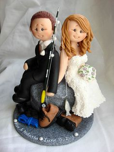 Personalised bride and groom wedding cake topper by ALittleRelic