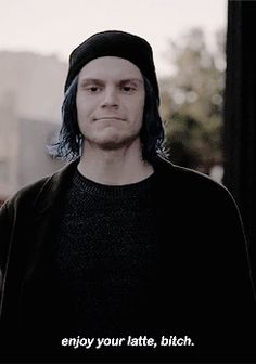 Bonified hotT. Me: I will not EVER find creepy racist Evan Peters hot. Bleh!!!