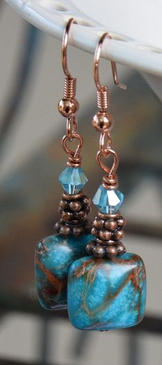 Blue Imperial Jasper Gemstone Beaded Dangle Earrings with Antique Copper Tibetan Spacer Beads and Blue Faceted Crystal Beads.